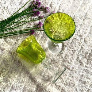 🍷 Vintage green glass goblets.